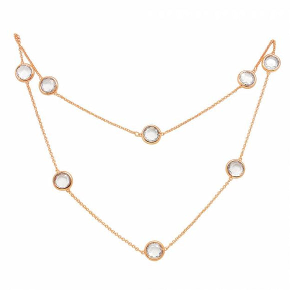 Tipperary Crystal Rose Gold Necklace with Clear Stones 107489