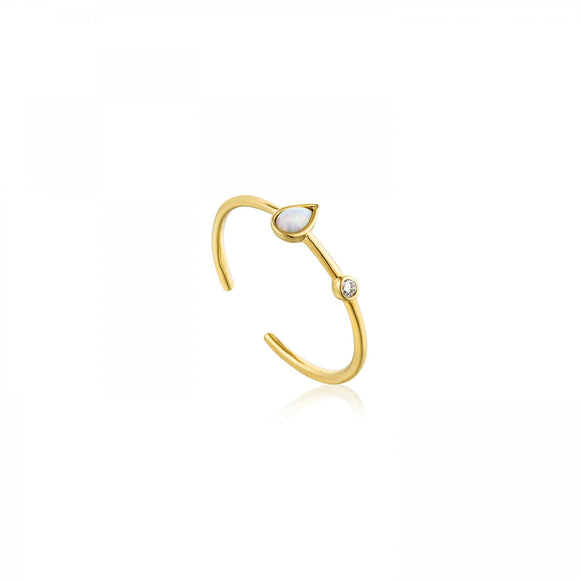 Ania Haie Opal Colour Raindrop Adjustable Ring Gold R014-02G