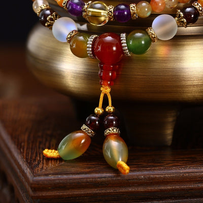 Natural Colorful Crystal Quartz Mala - Yogi Store