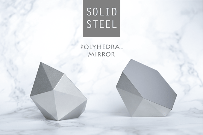 Our polyhedral mirror is a 10-sided solid steel mirror with one large mirror-polished side.