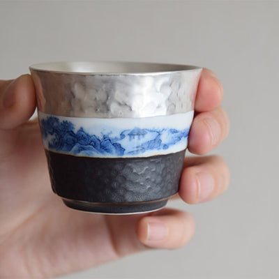 "<b><font color=""black"">MUSEUM PORCELAIN & SILVER TEACUP</font></b> <br>Sol-Bird - Kranite"