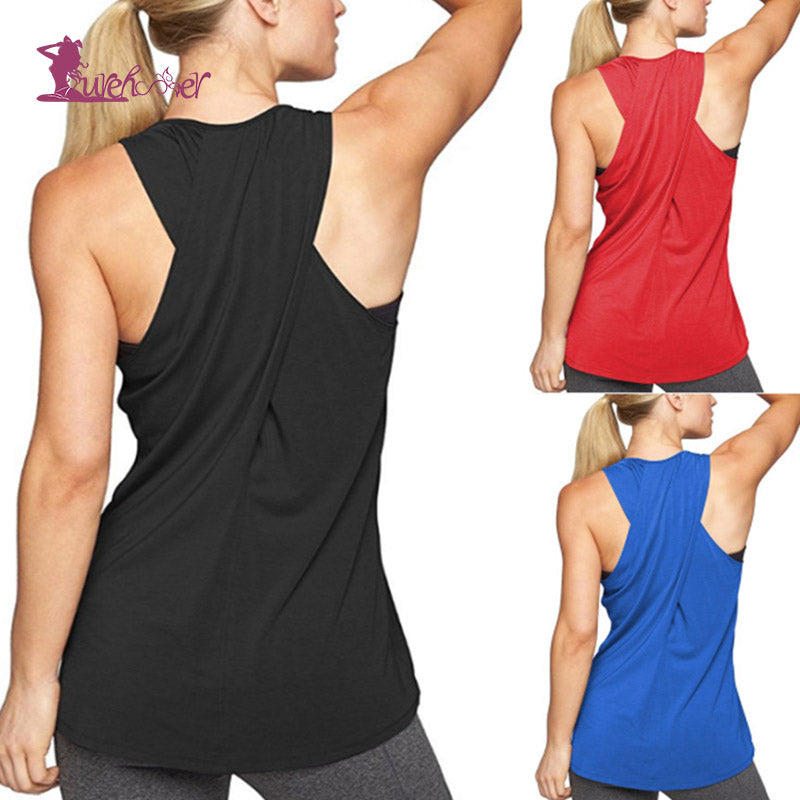 35cff9354fabf Yoga Top Gym Sports Vest Women Running Tank Tops Fitness Clothing Solid Yoga  Shirts