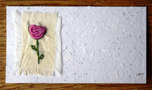 Card embroidered, mini, Rose