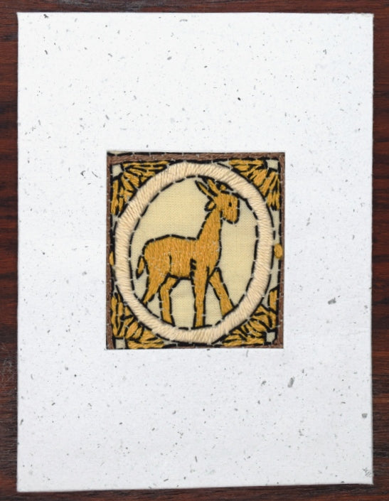 Card, embroidered, Gazelle