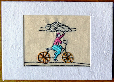 Card, embroidered, Village collection-Bread delivery
