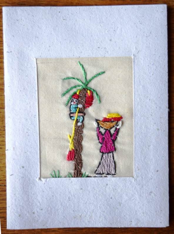 Card, embroidered, Village collection-Date pickers