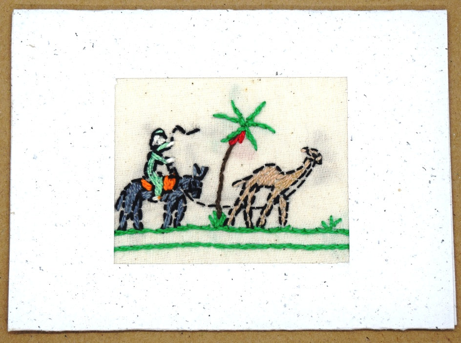 Card, embroidered, Village collection-Donkey and camel