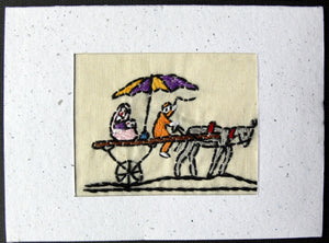 Card embroidered, Village collection-Family outing
