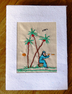 Card, embroidered, Village collection-Flute player