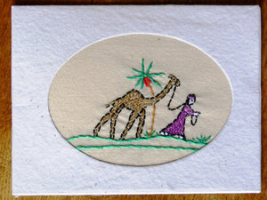 Card, embroidered, Village collection-Girl & camel