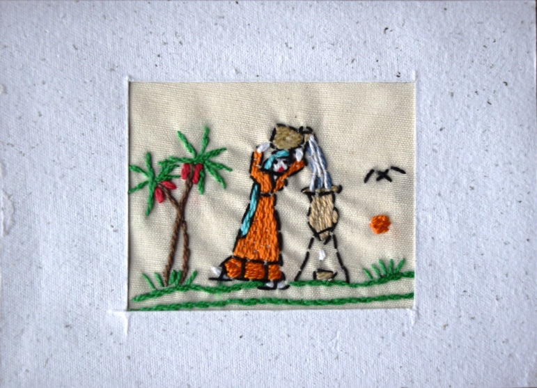 Card, embroidered, Village collection-Water cooler