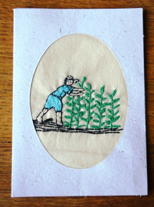 Cards, embroidered, Village-Maize