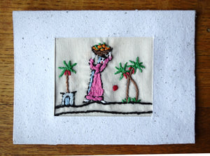 Card, embroidered, Village collection-Oranges