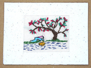 Card, embroidered, Village collection-River bank