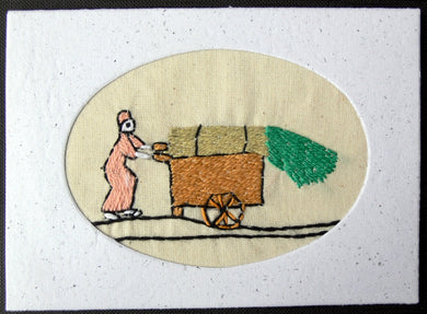 Card embroidered, Village collection-Sugar cane