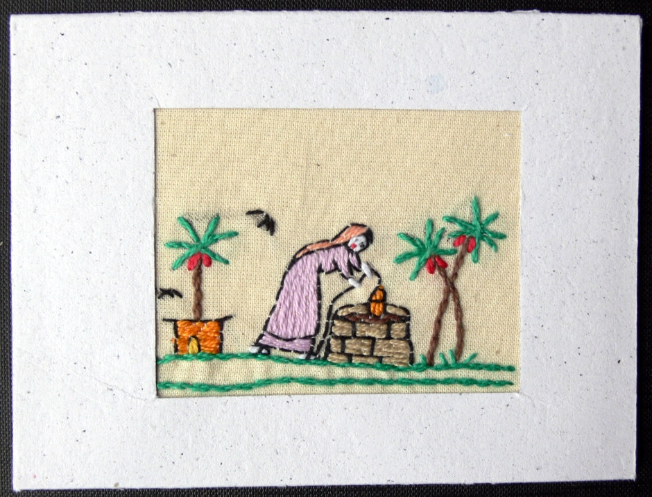 Card embroidered, Village collection-Well