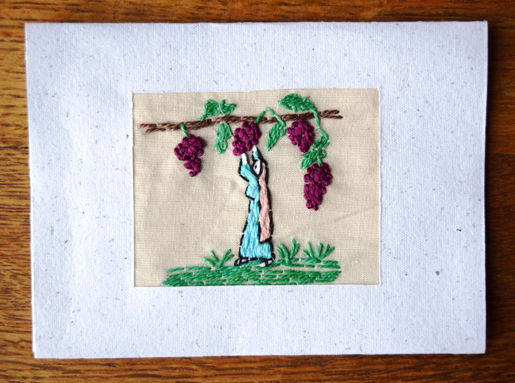 Card, embroidered, Village collection-Grape picking