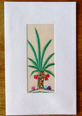 Card, embroidered, large-Date palm