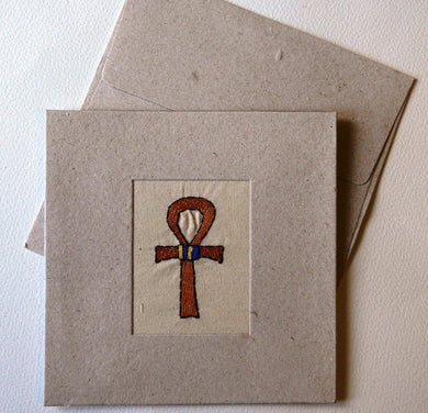 Card embroidered, square, Ankh