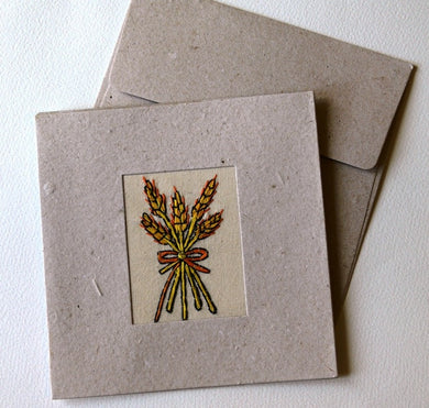Card embroidered, square, Wheat