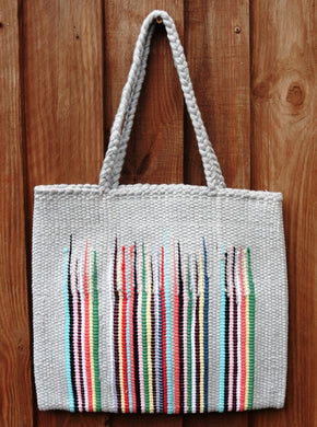 Bag, woven tote, medium, Flame