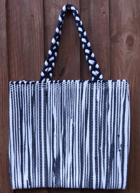 Bag, woven tote, medium, Stripe