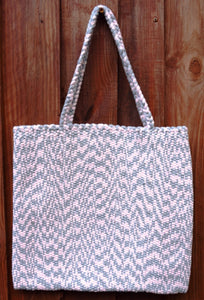 Bag, woven tote, medium, Chevron