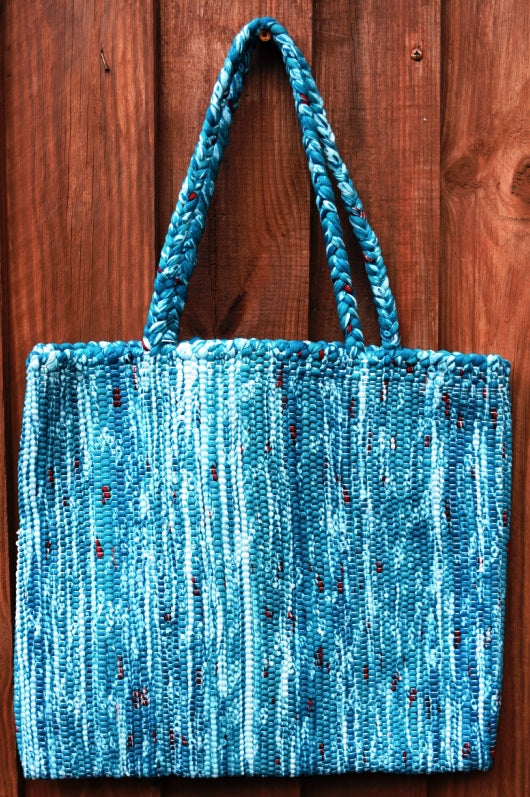 Bag, woven tote, medium, Random