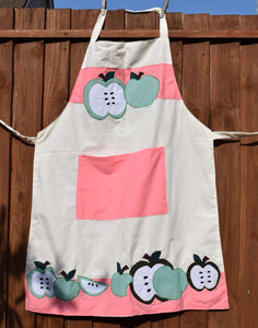 Apron, full-length, appliqué, Apples