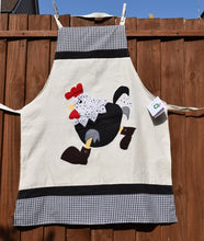 Load image into Gallery viewer, Apron, full-length, appliqué, Hen in boots