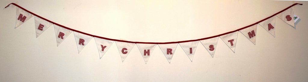 Christmas bunting, appliqué, Merry Christmas
