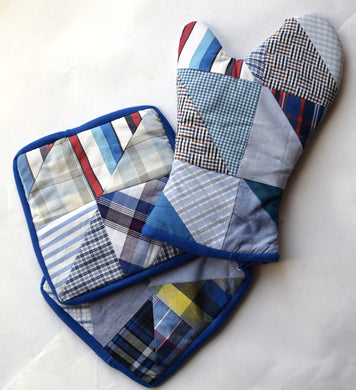 Oven glove single & pair of potholders, patchwork Blue