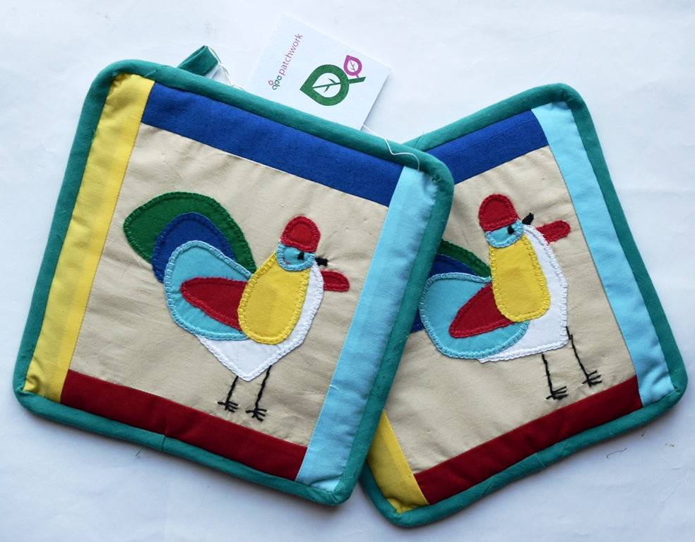 Pot holders, patchwork/appliqué, Hens, Medium