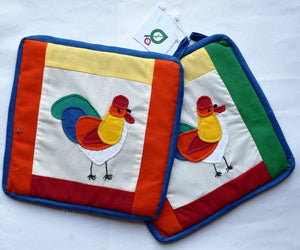 Pot holders, patchwork/appliqué, Hens, large