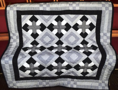 Quilt/Throw, Coptic, Black/grey/white