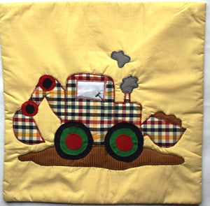 Cushion cover, appliqué, Digger, yellow