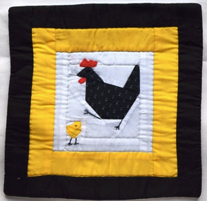 Cushion cover, patchwork, Hen & Chick