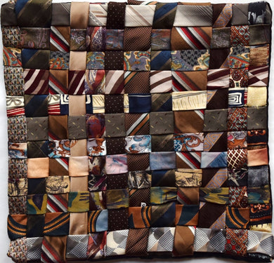 Cushion cover, woven ties, Browns