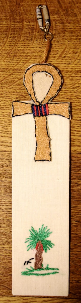 Bookmark, embroidered, Ankh