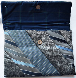 iPad cover, padded, Ties, grey-blue