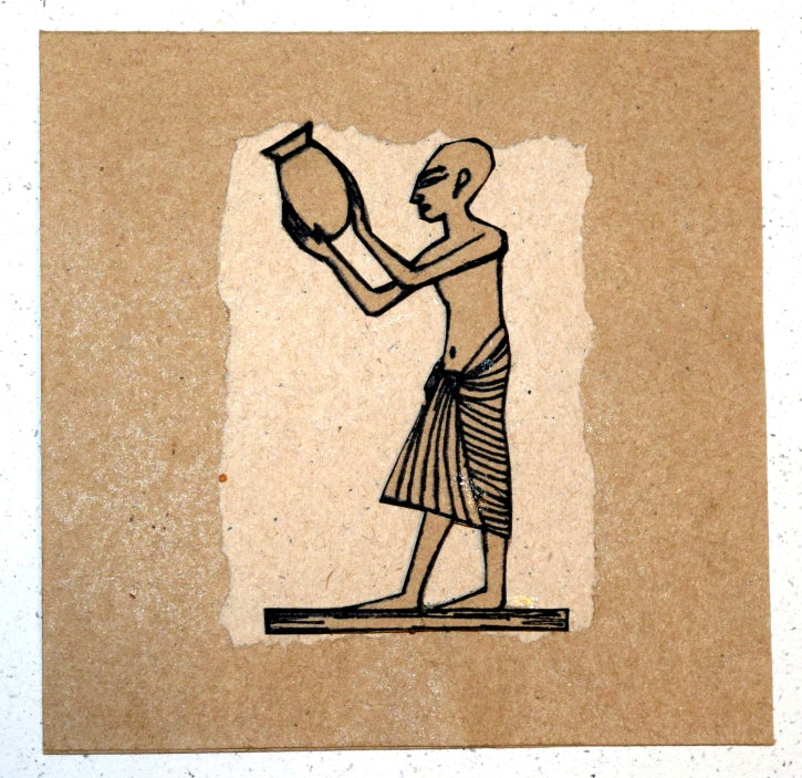 Card, collage, pharaonic, Urn carrier