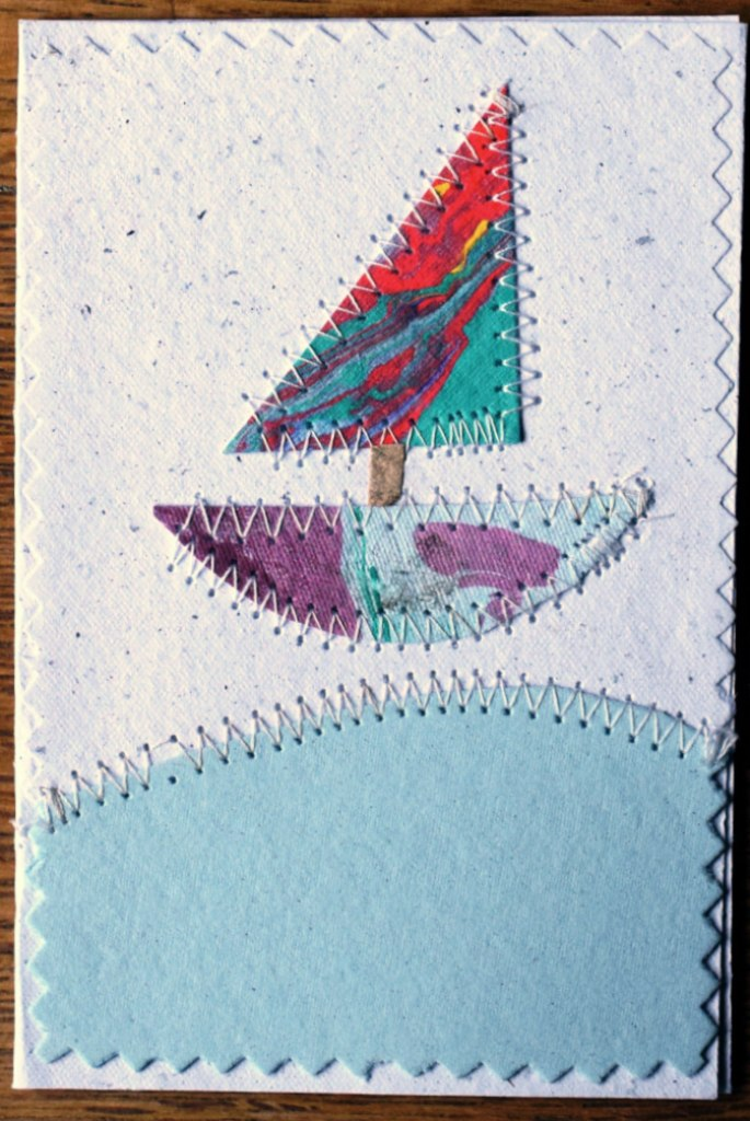 Card, collage, stitched Boat