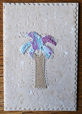 Card, collage, stitched Palm