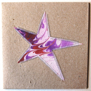 Card, collage, stitched Star