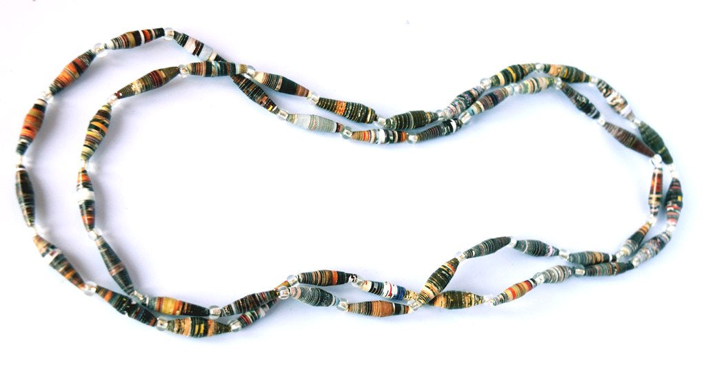 Necklace, Paper beads, single strand-long