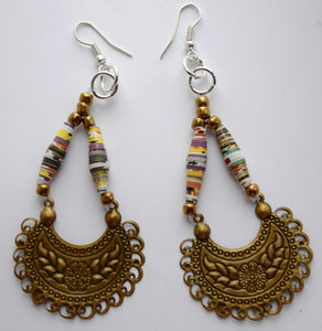 Earrings, Paper bead, Crescent