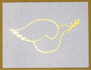 Card, Gold print, Dove