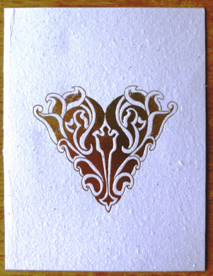 Card, Gold print, Heart