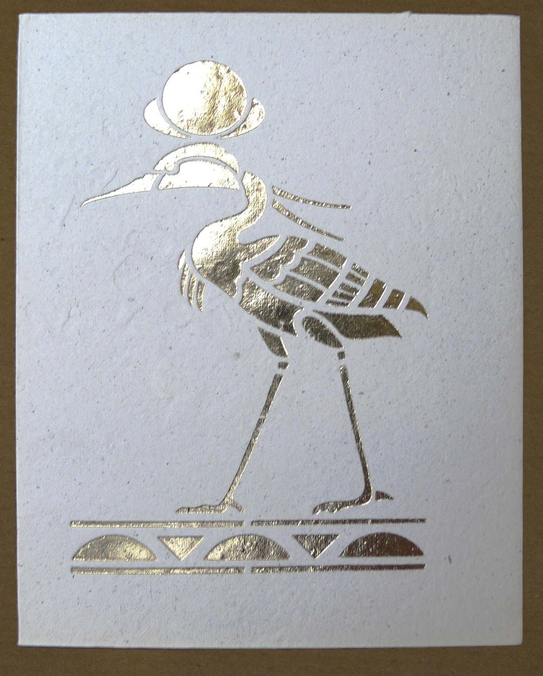 Card, Gold print, Heron
