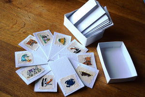 Cards, embroidered, small -Box of 10